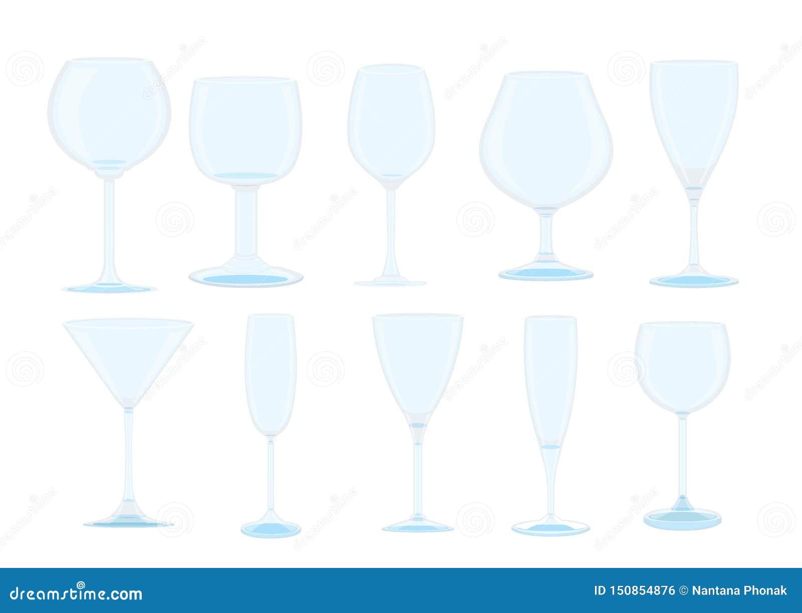 Vidro de Champagne e vidro de vinho isolado
