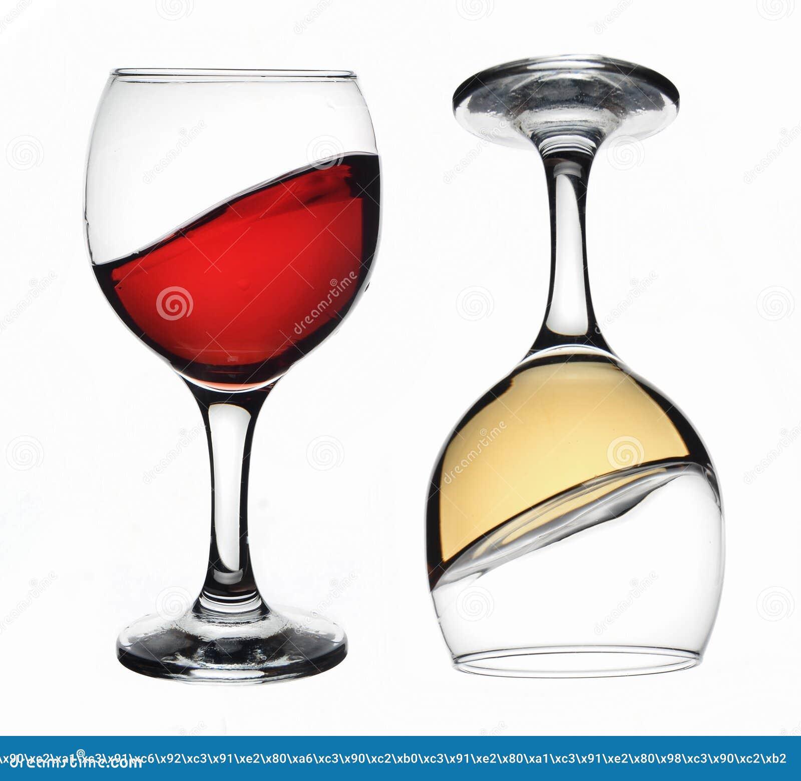 Vidro de vinho vermelho e branco