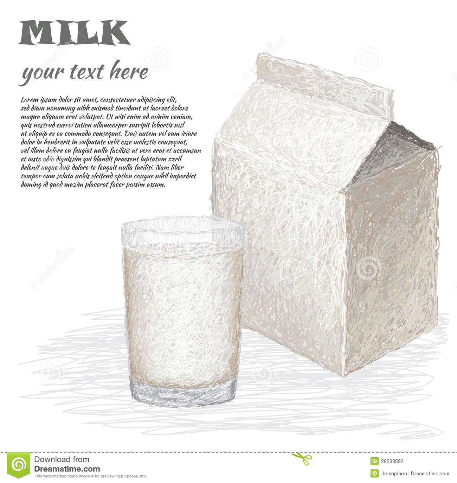 Vidro do leite e da caixa do leite