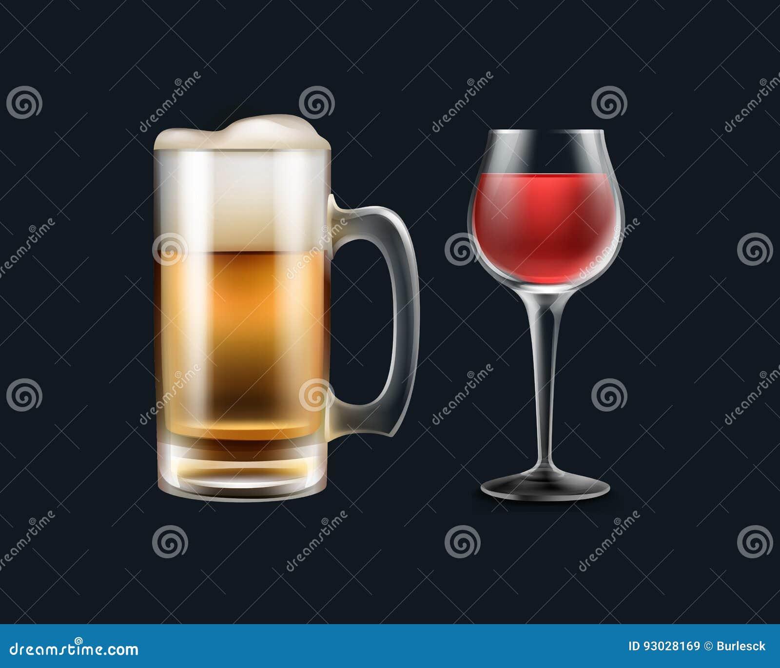 Vidro do vinho e da cerveja