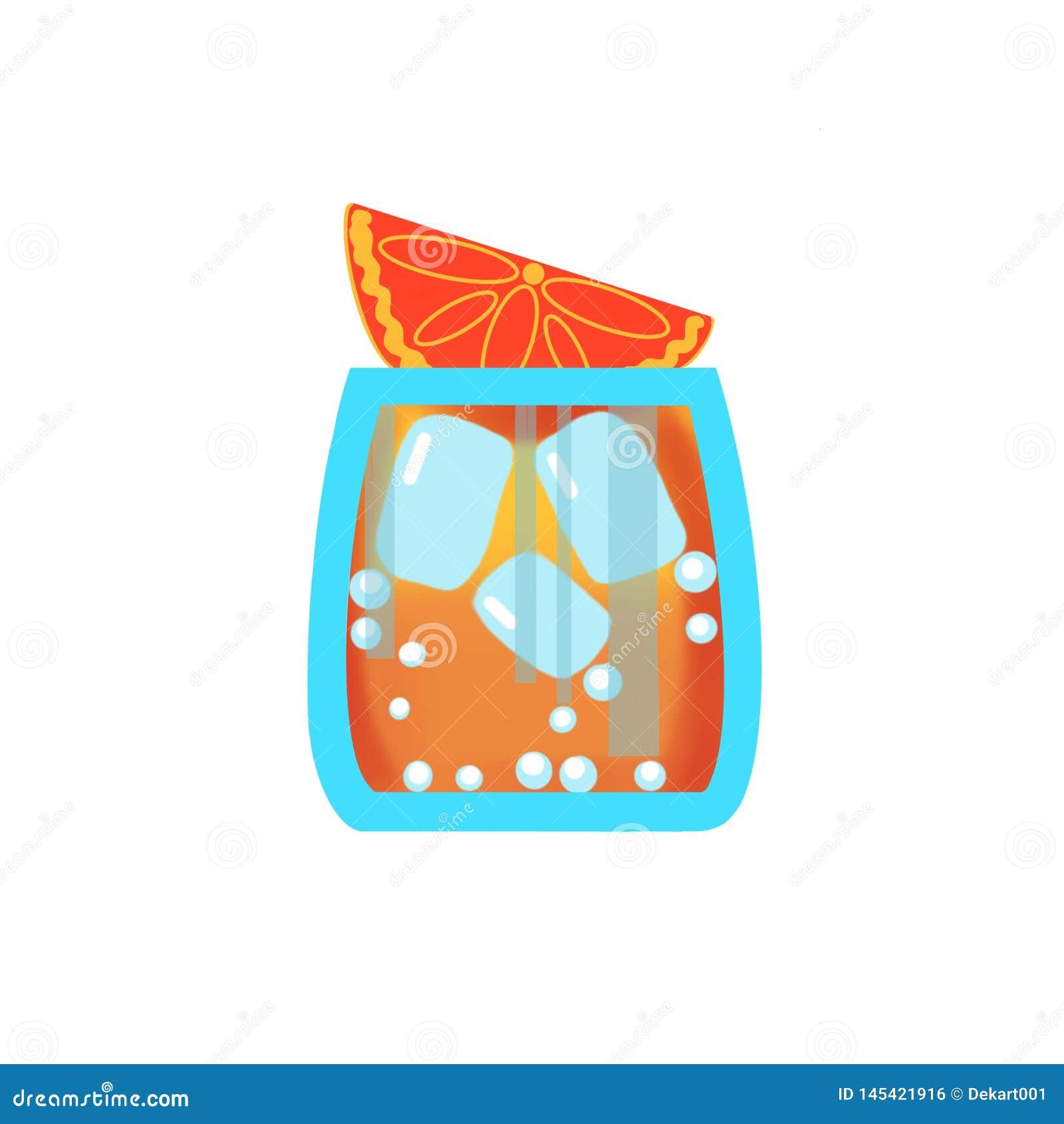 Vidro frio da bebida do tolo com bolhas, laranja e gelo no fundo branco