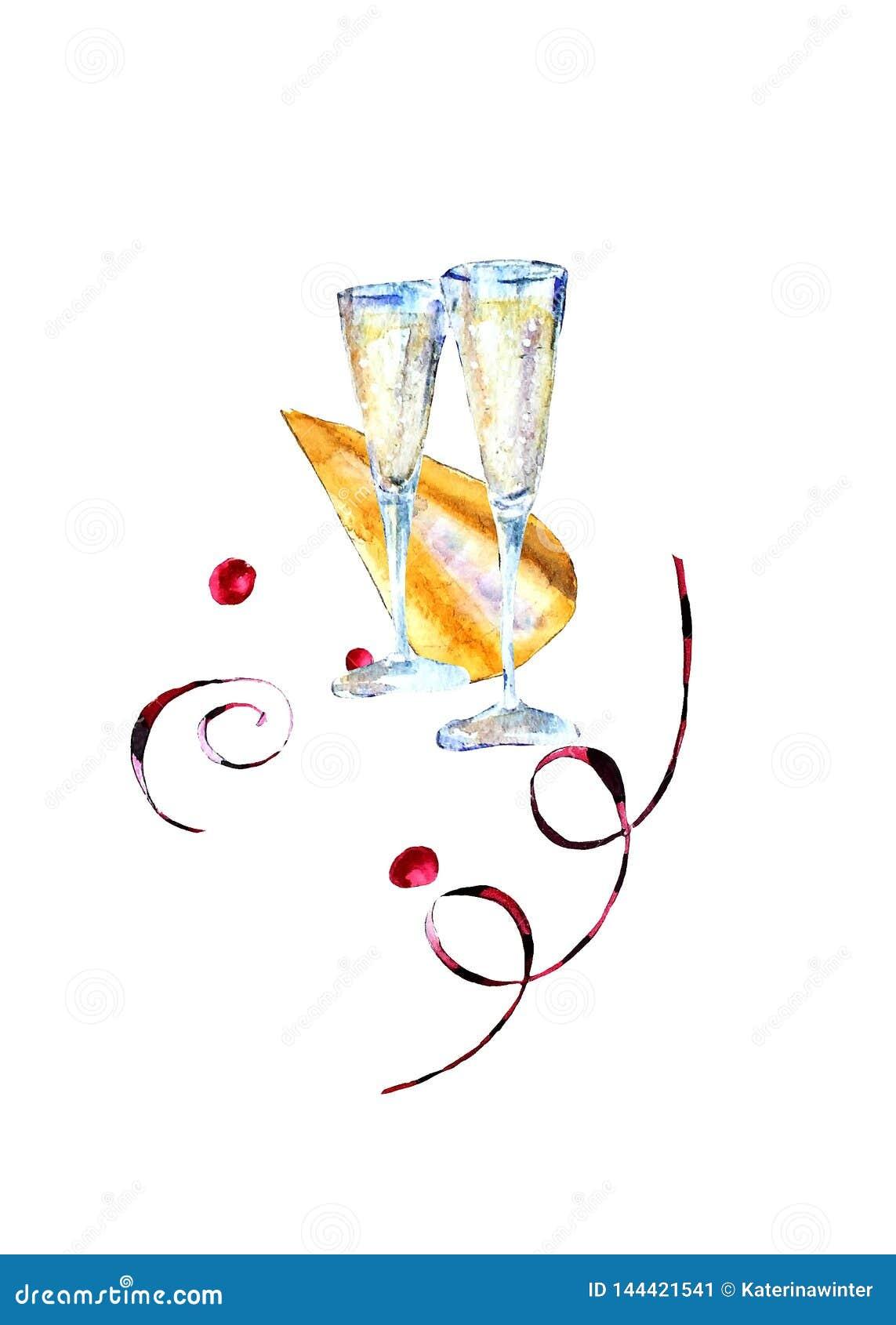 Vidros da aquarela com vinho espumante, chapéu do carnaval e as flâmulas de papel
