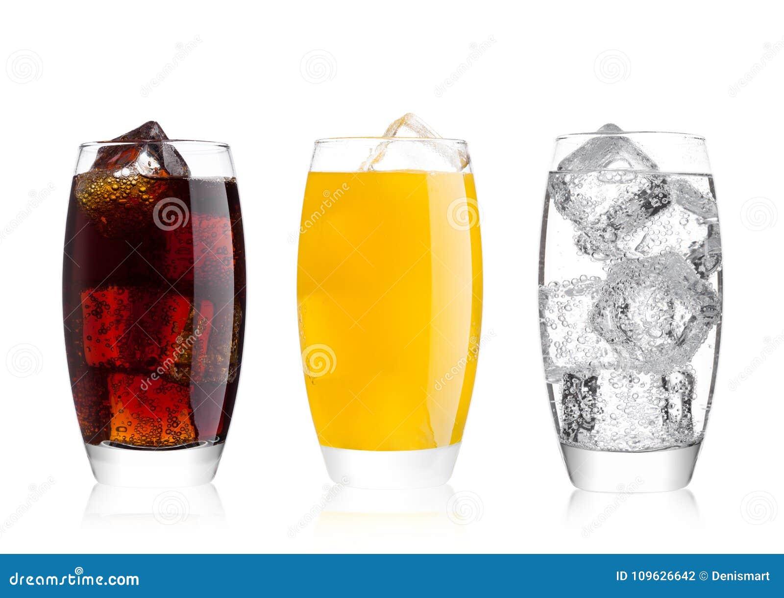 Vidros da cola e da bebida e da limonada da soda alaranjada