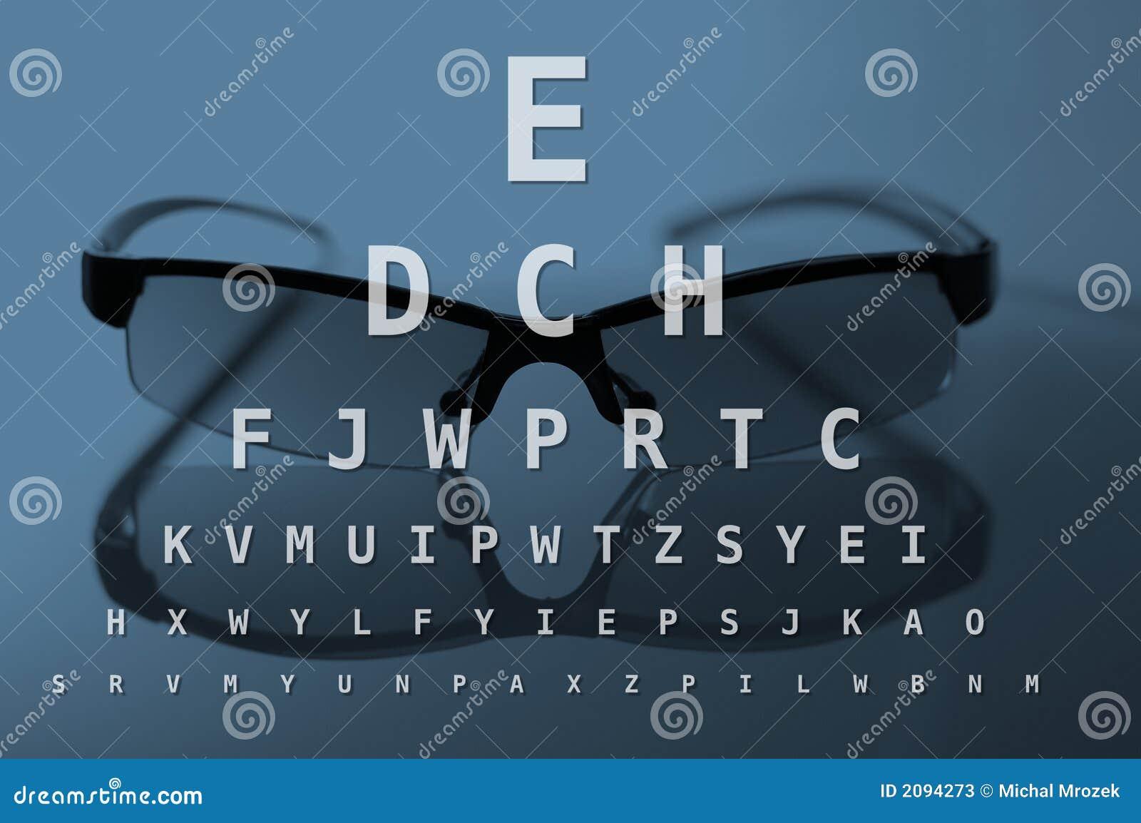Vidros e carta de teste do olho
