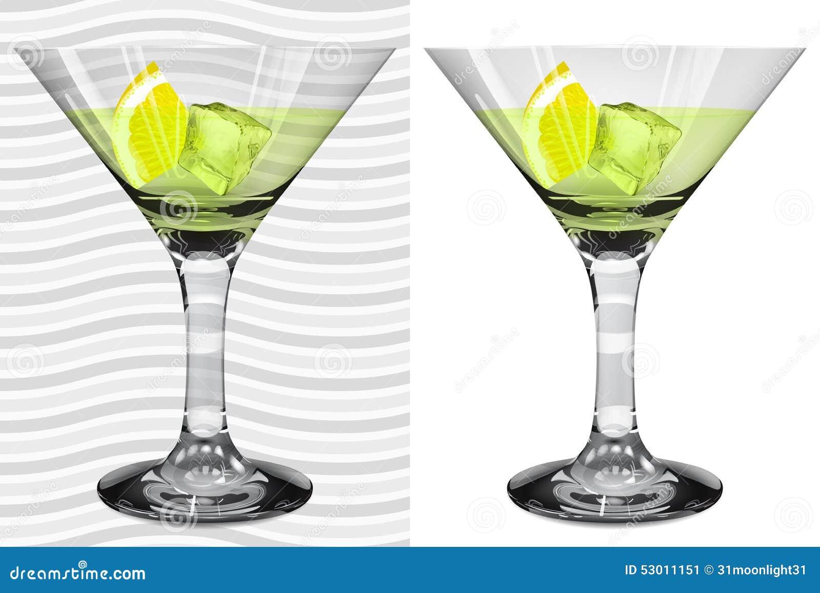 Vidros realísticos transparentes e opacos de martini com martini, l