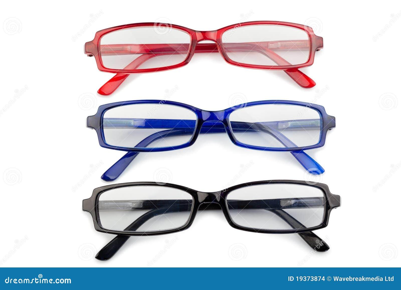 Vidros vermelhos e azuis pretos