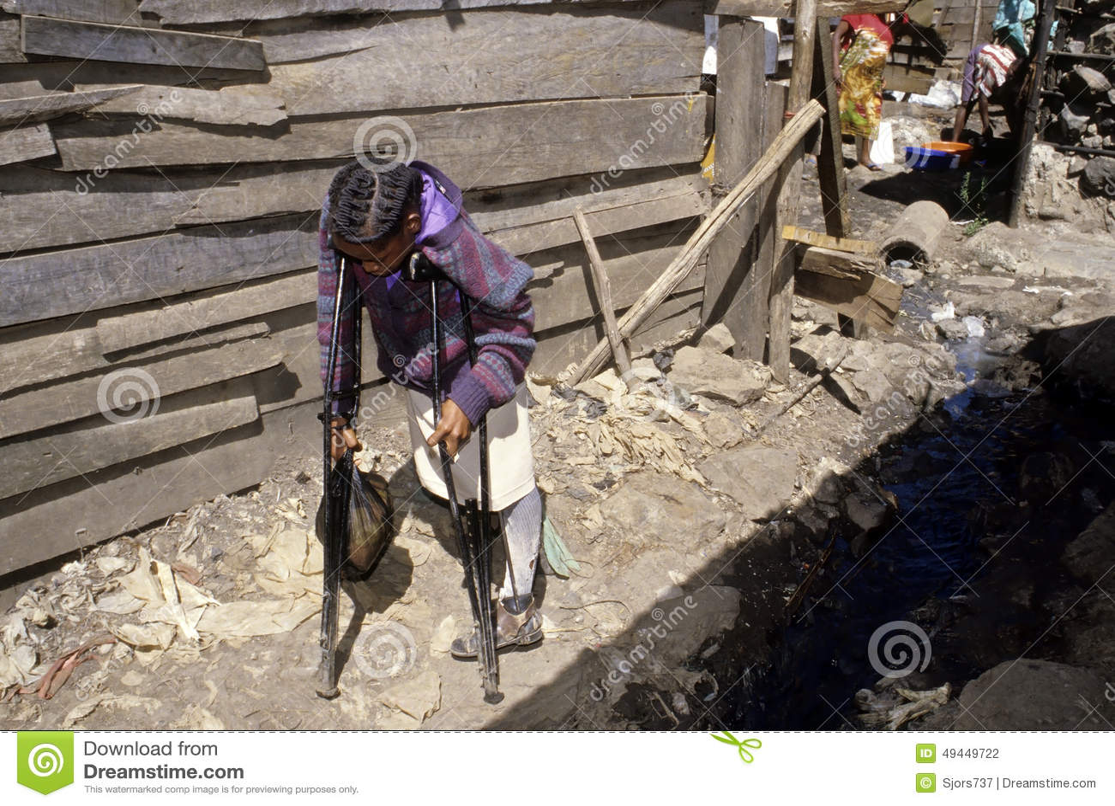 Vie difficile avec l incapacité, taudis kenyan, Nairobi
