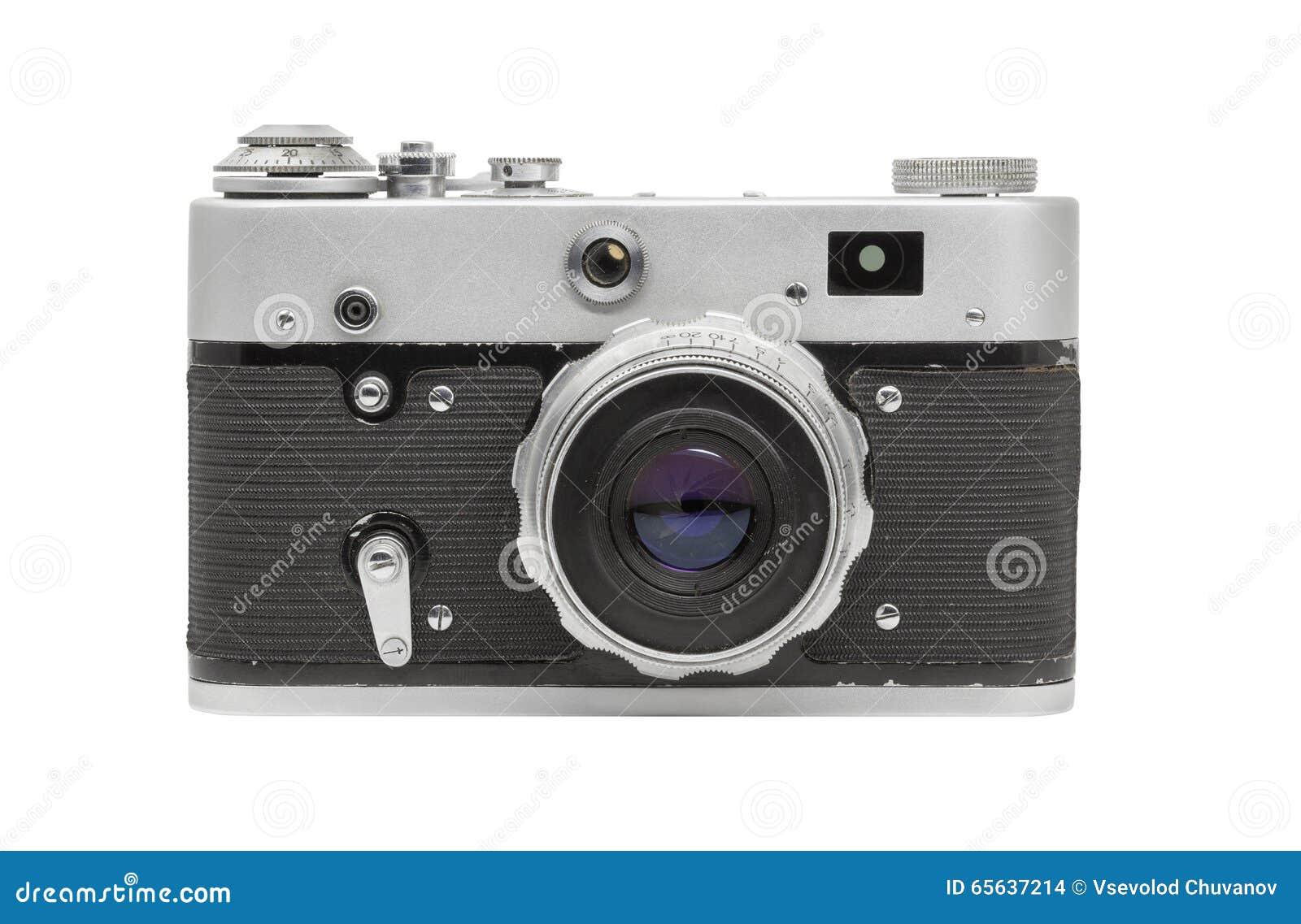 Vieil appareil-photo de film avec la lentille, d isolement sur le fond blanc