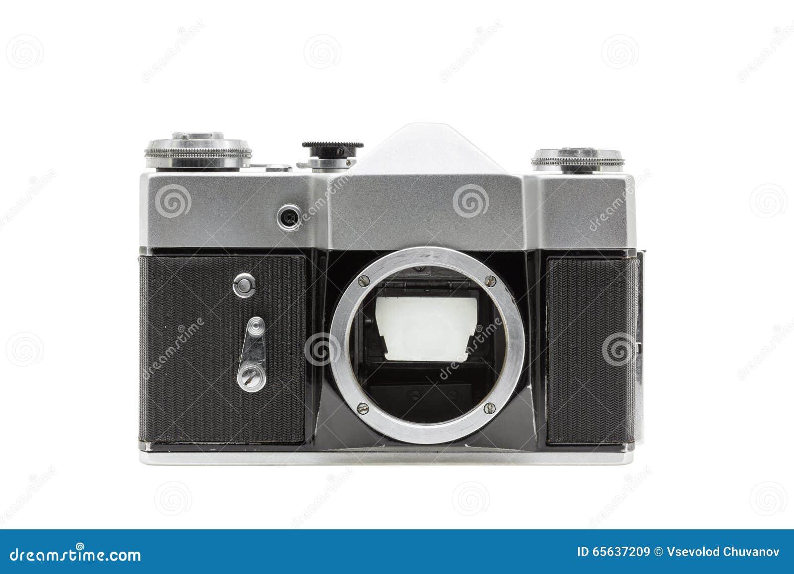 Vieil appareil-photo de film sans lentille d isolement sur le fond blanc