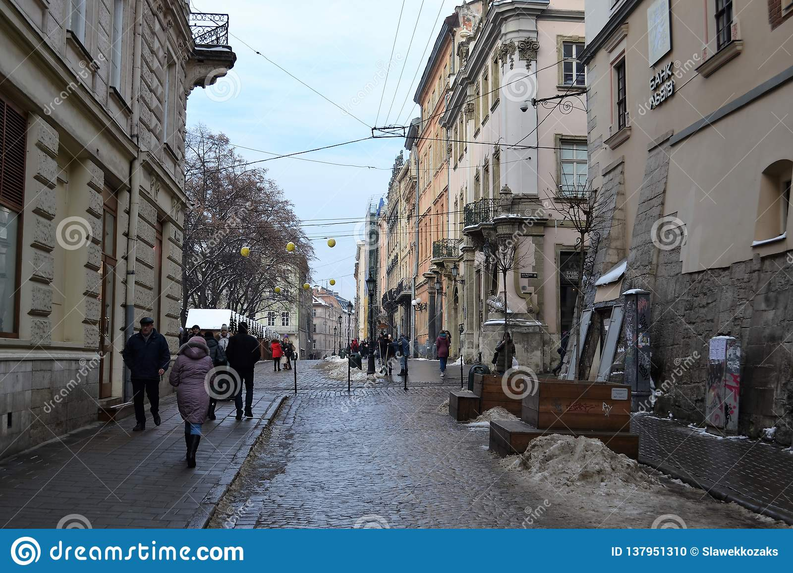 Vieil hiver de ville de Lviv Ukraine
