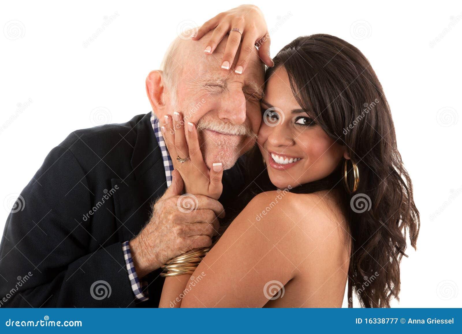 Vieil homme riche avec l épouse d or-bêcheur