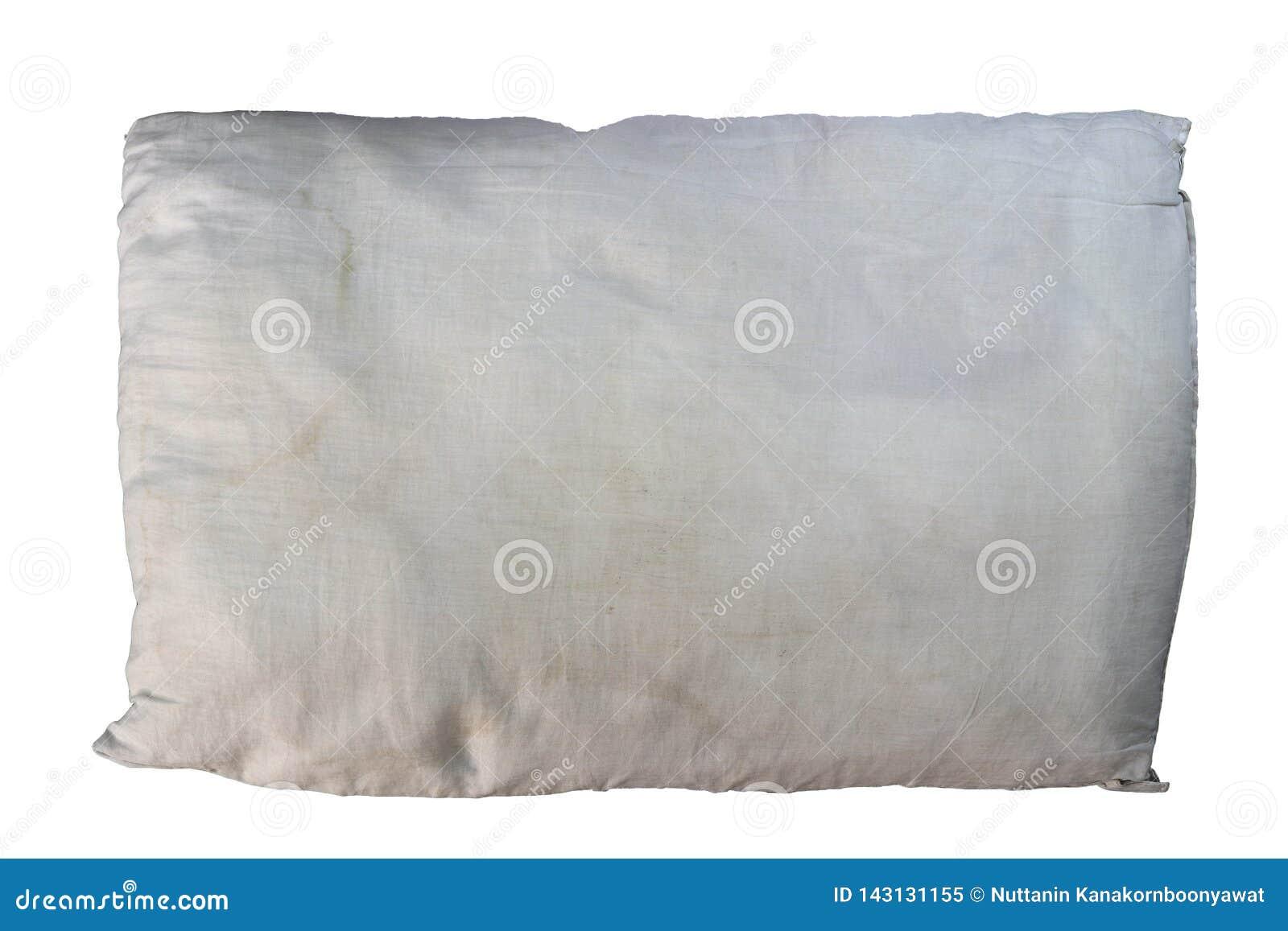 Vieil oreiller, oreiller sale d isolement sur le fond blanc