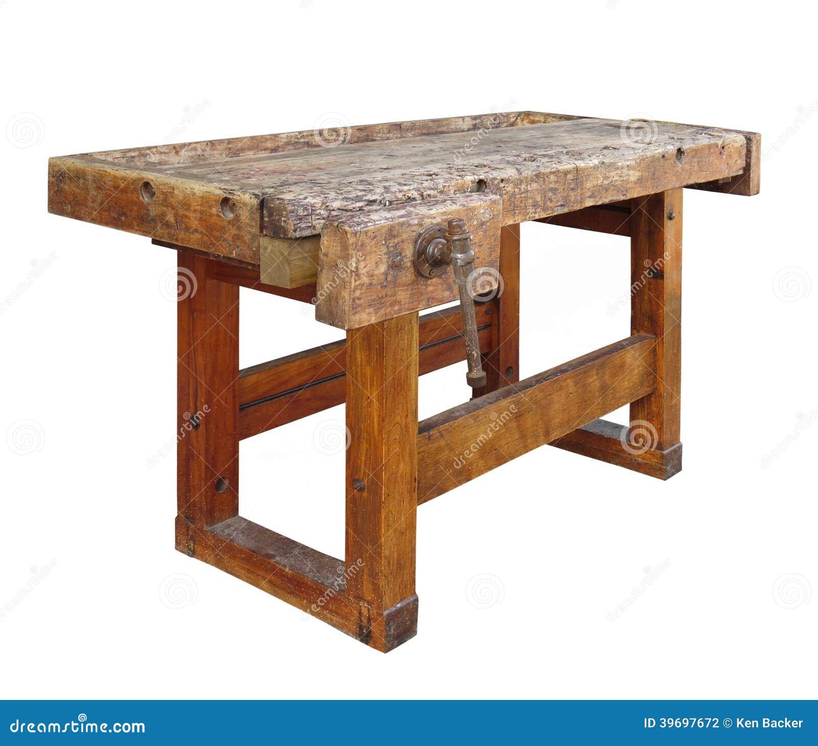 vieil tabli en bois d 39 isolement photo stock image. Black Bedroom Furniture Sets. Home Design Ideas
