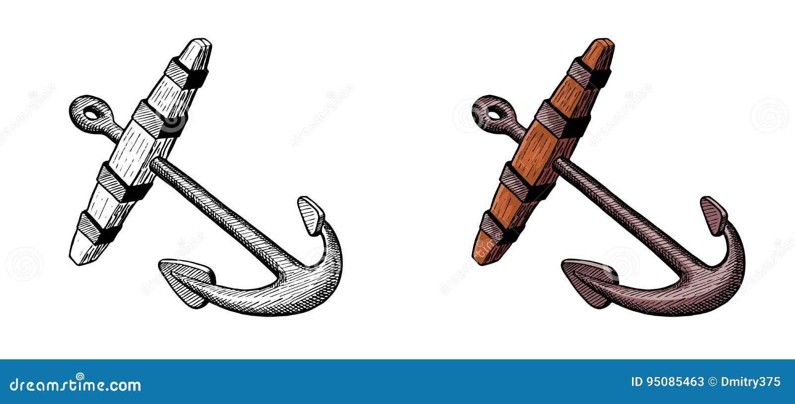 Vieille ancre pour le bateau de navigation dessin d 39 encre de main illustration de vecteur - Dessin ancre bateau ...