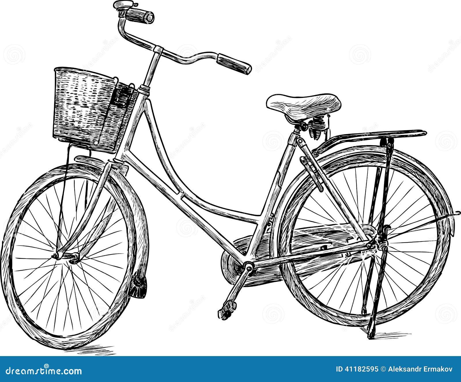 Vieille bicyclette image stock image du vieux roues - Dessin bicyclette ...