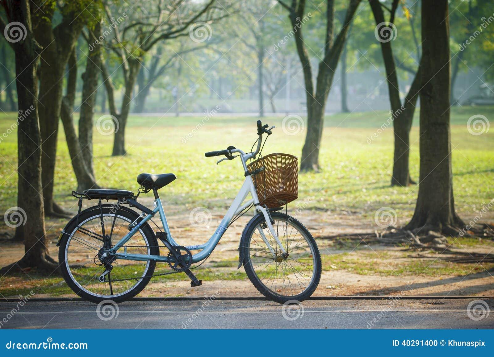 Vieille bicyclette de vintage en parc public avec le concept vert de nature