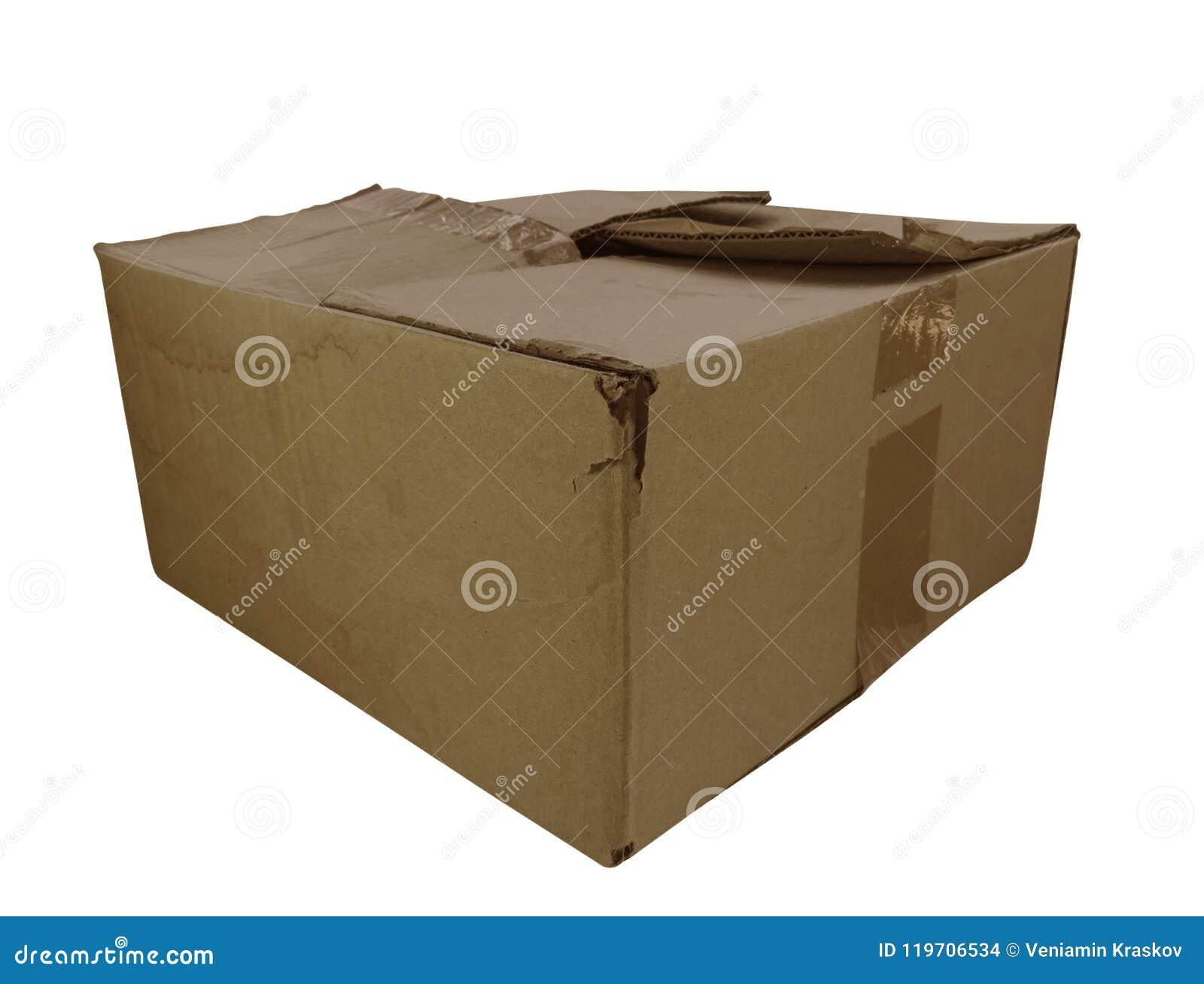 Vieille boîte en carton d isolement photo stock image du modifié