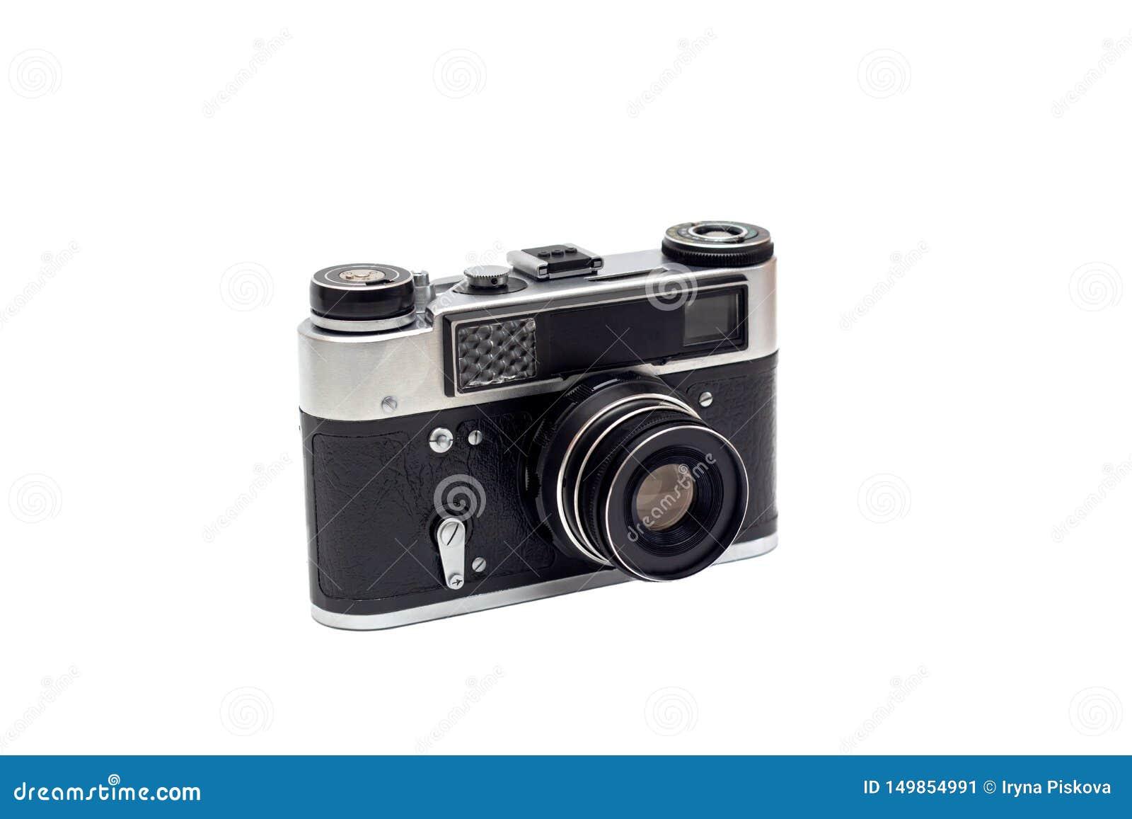 Vieille caméra soviétique avec une lentille isolat