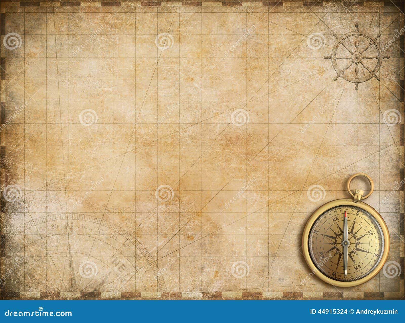 Vieille carte avec la boussole en laiton comme fond d exploration