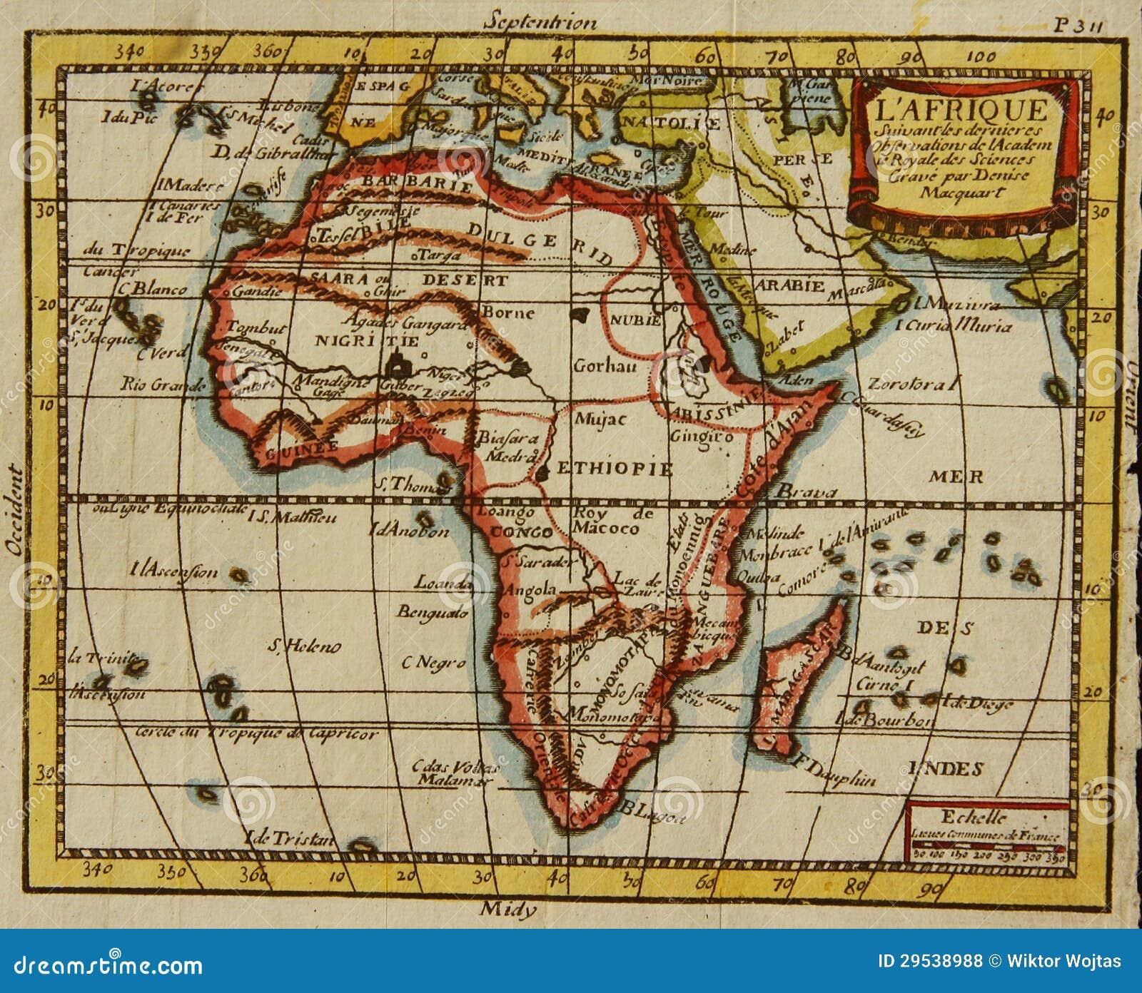 Carte De Lafrique Antique.Vieille Carte De L Afrique Photo Stock Image Du Editez