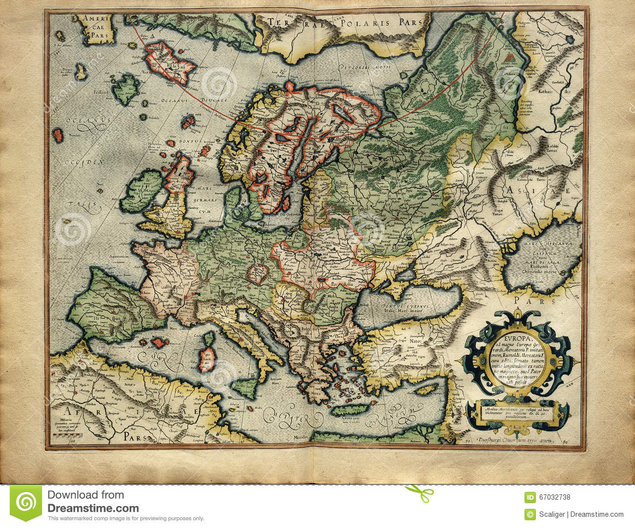 Carte Europe Medievale.Vieille Carte De L Europe Imprimee En 1587 Photo Stock