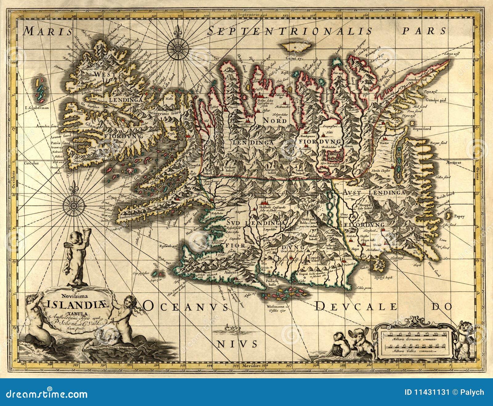 Islande Carte Vieille