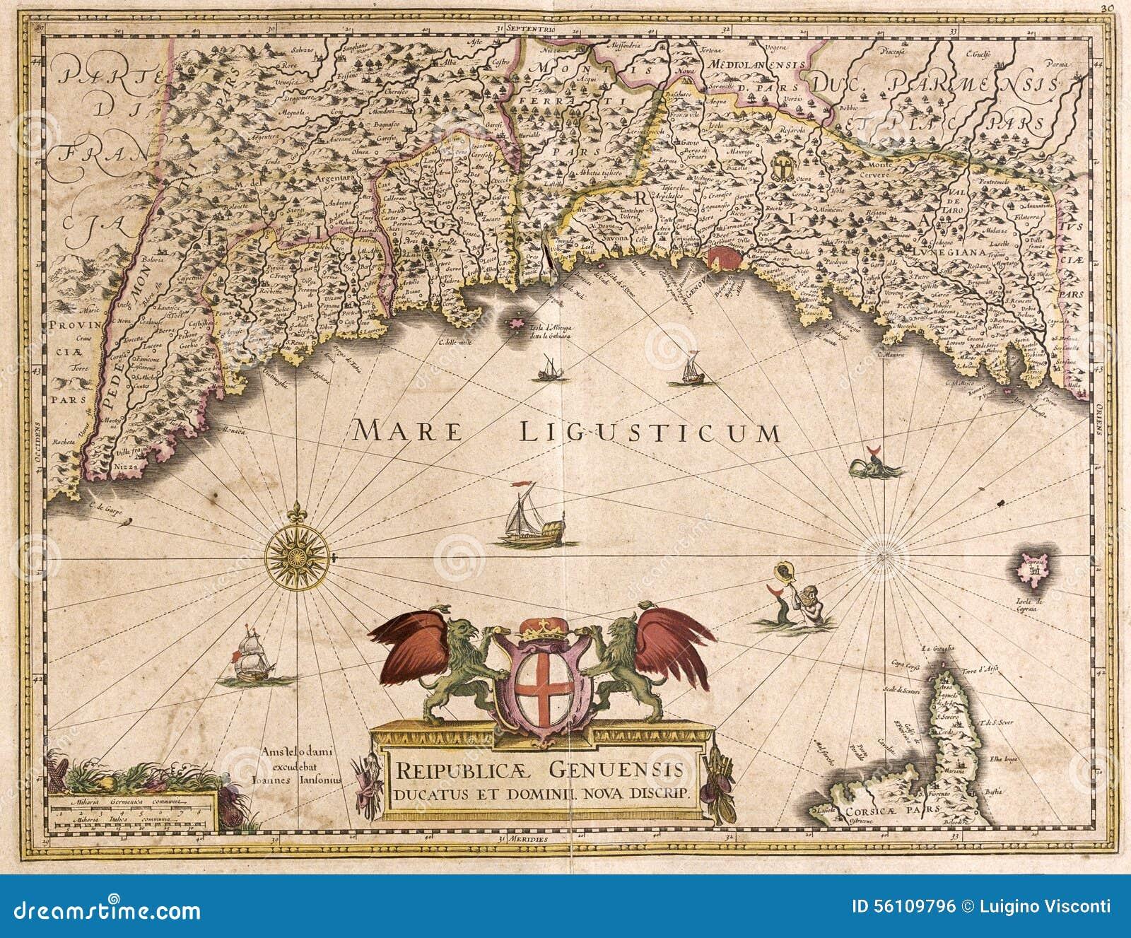 Carte Italie Ligurie.Vieille Carte De La Ligurie Italie Illustration Stock