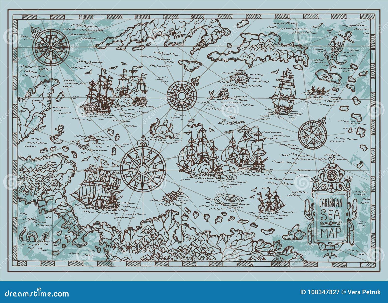 carte au trésor de pirate des caraibes Vieille Carte De La Mer Des Caraïbes Avec Des Bateaux De Pirate