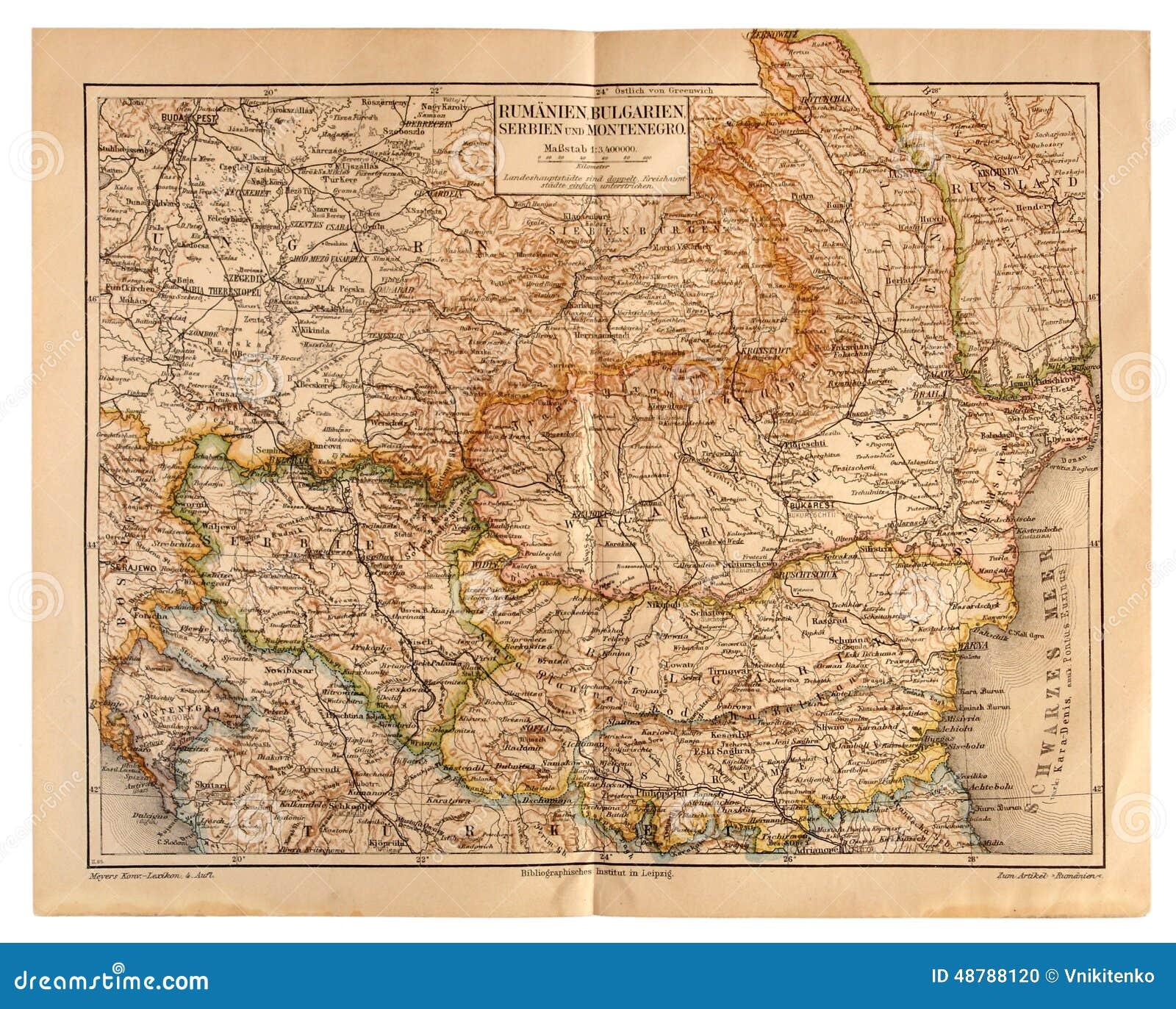 Carte Roumanie Bulgarie.Vieille Carte De La Roumanie Bulgarie Serbie Et Montenegro