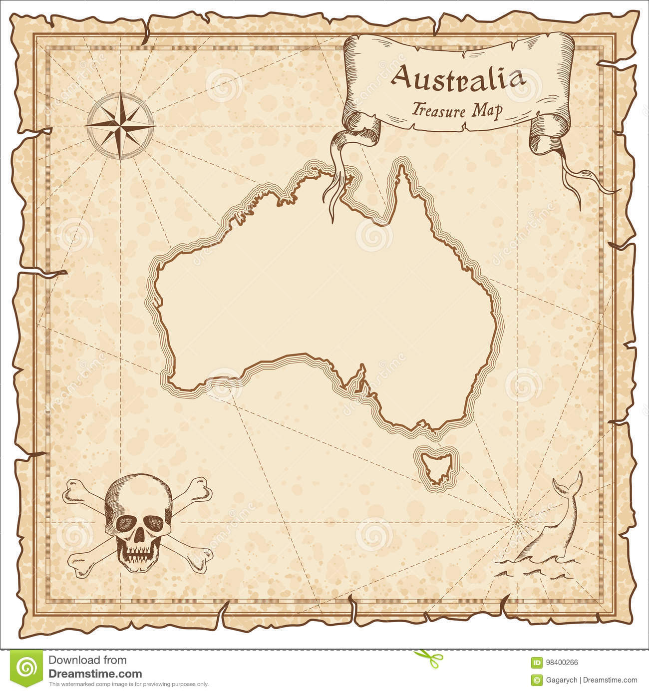 Carte Australie Papier.Vieille Carte De Pirate D Australie Illustration De Vecteur