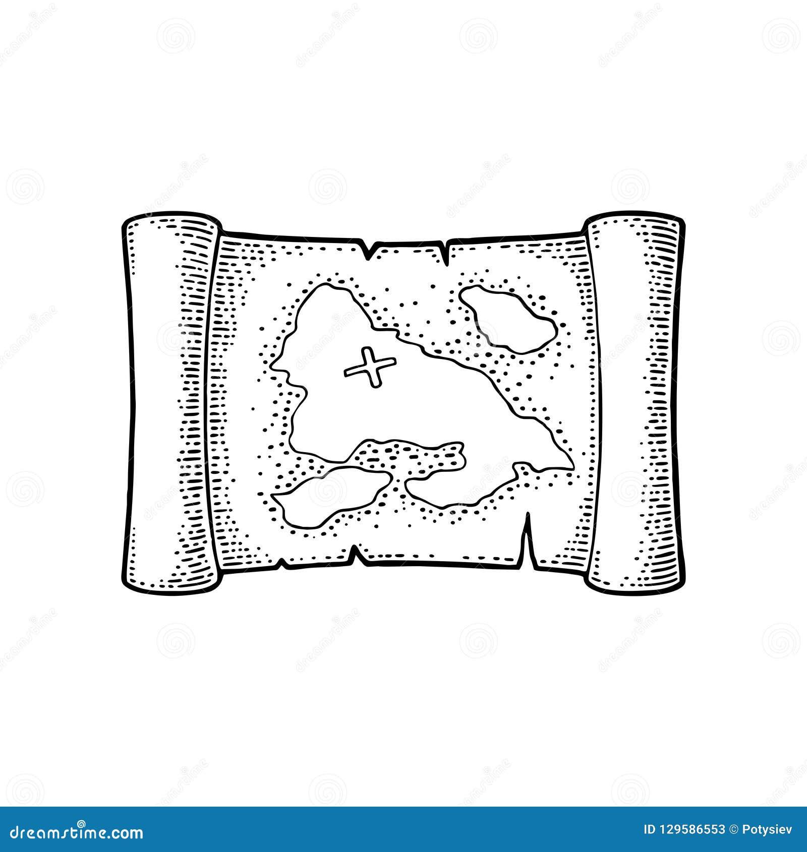 Carte Au Tresor Noir Et Blanc.Vieille Carte De Tresor De Pirate Illustration De Gravure De