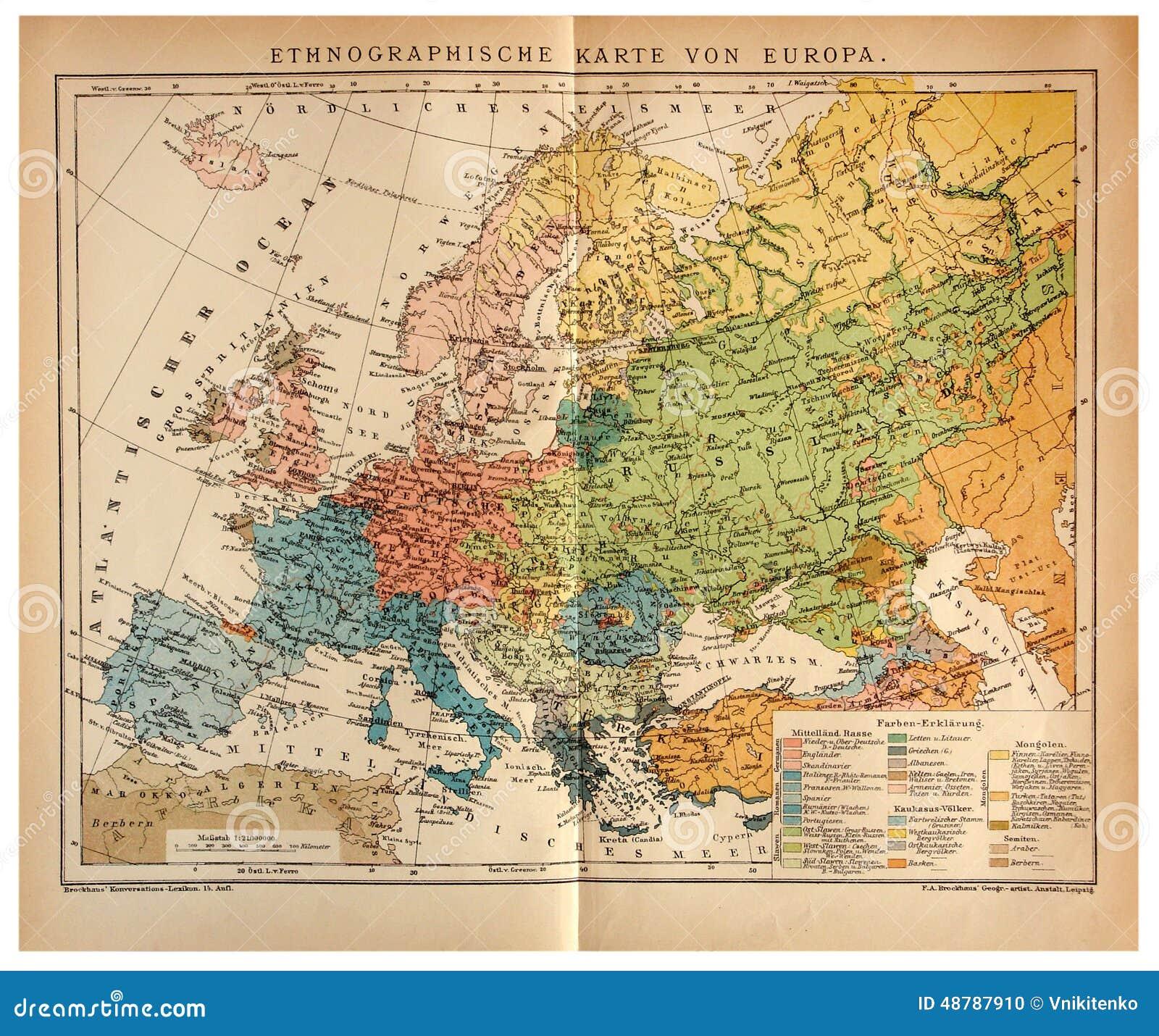 Vieille Carte Ethnographique De L'Europe Image éditorial   Image