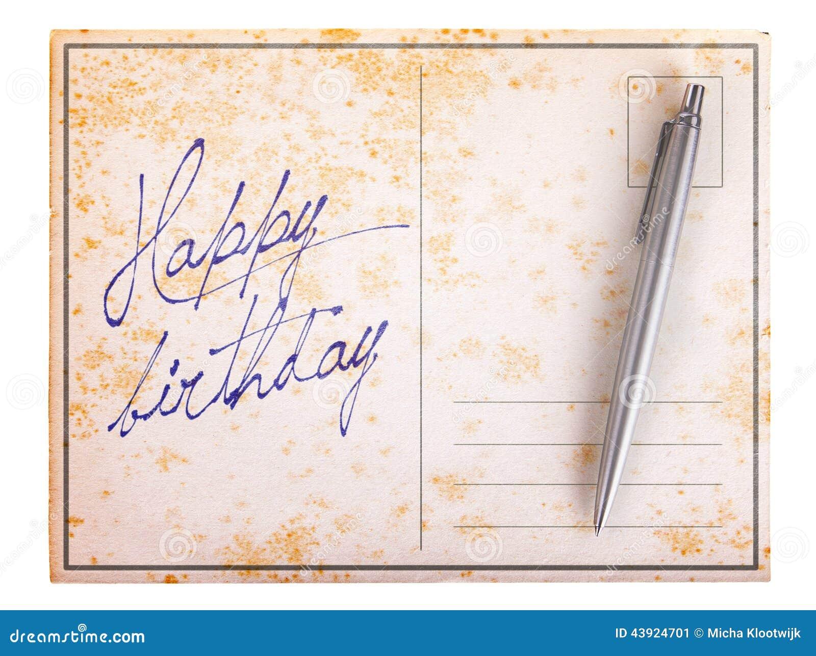 Vieille Carte Postale De Papier Joyeux Anniversaire Image Stock