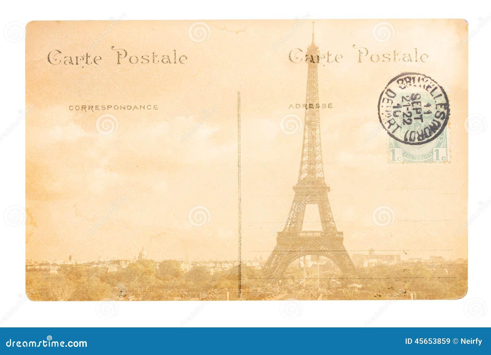 vieille carte postale de paris image stock image 45653859. Black Bedroom Furniture Sets. Home Design Ideas