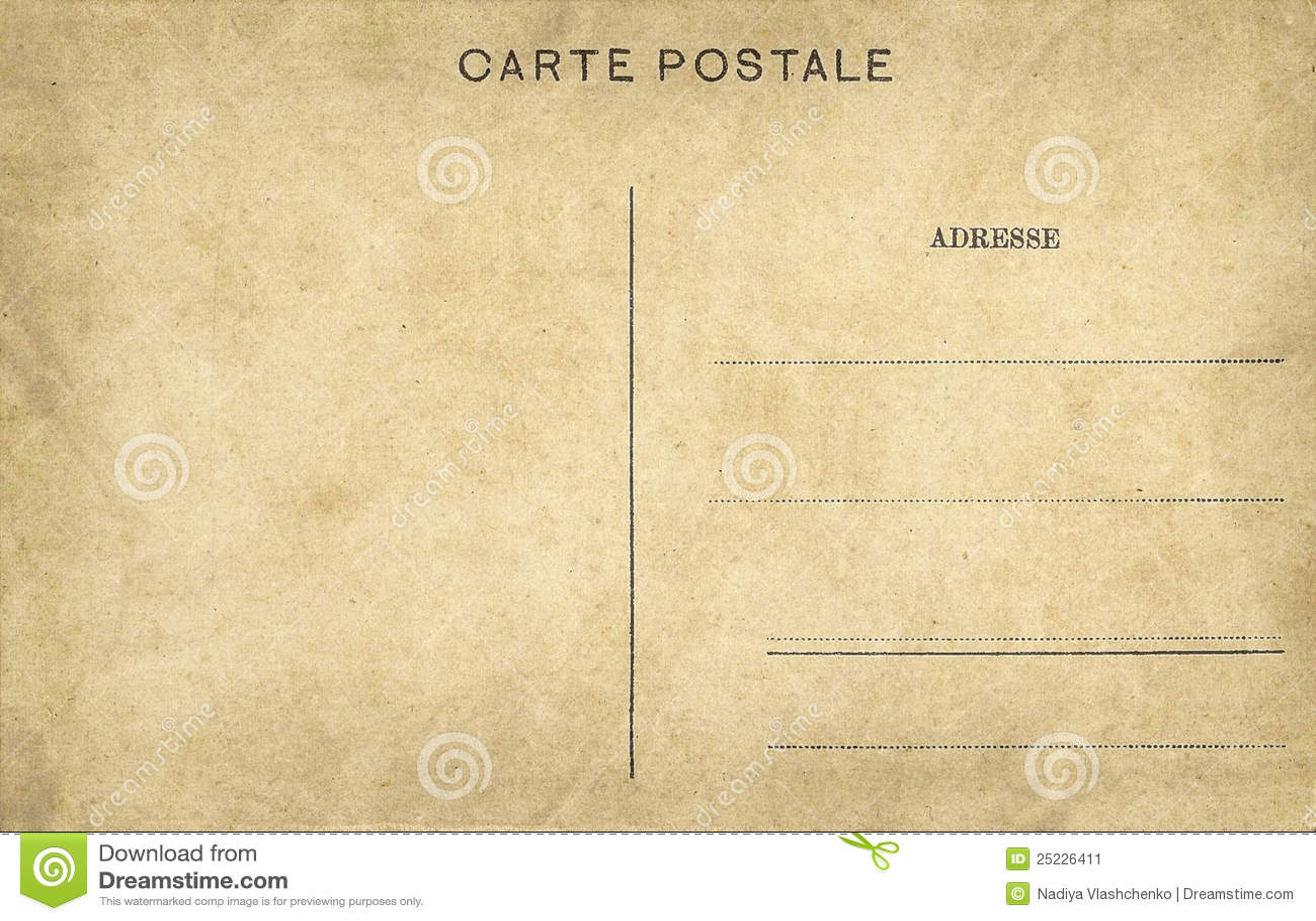 Vieille Carte Postale Vide Image stock - Image: 25226411