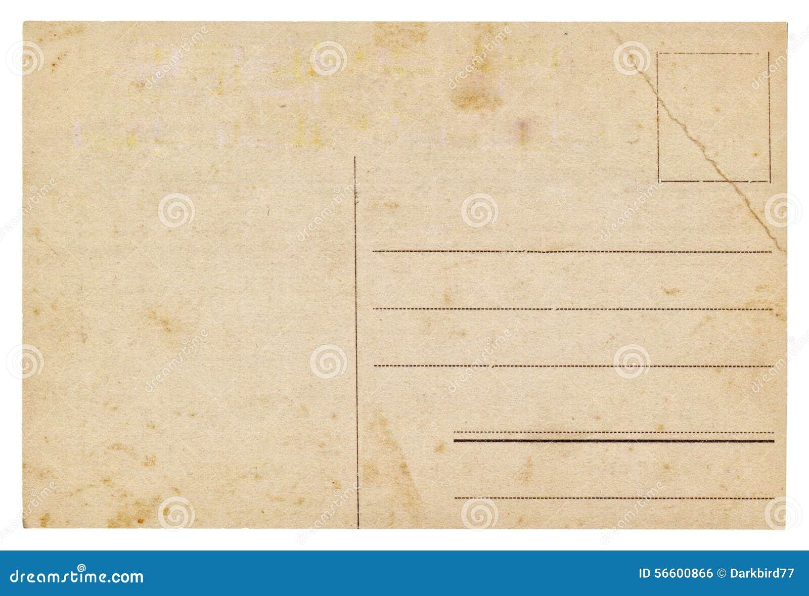 vieille carte postale vide de vintage photo stock image du copie poteau 56600866. Black Bedroom Furniture Sets. Home Design Ideas