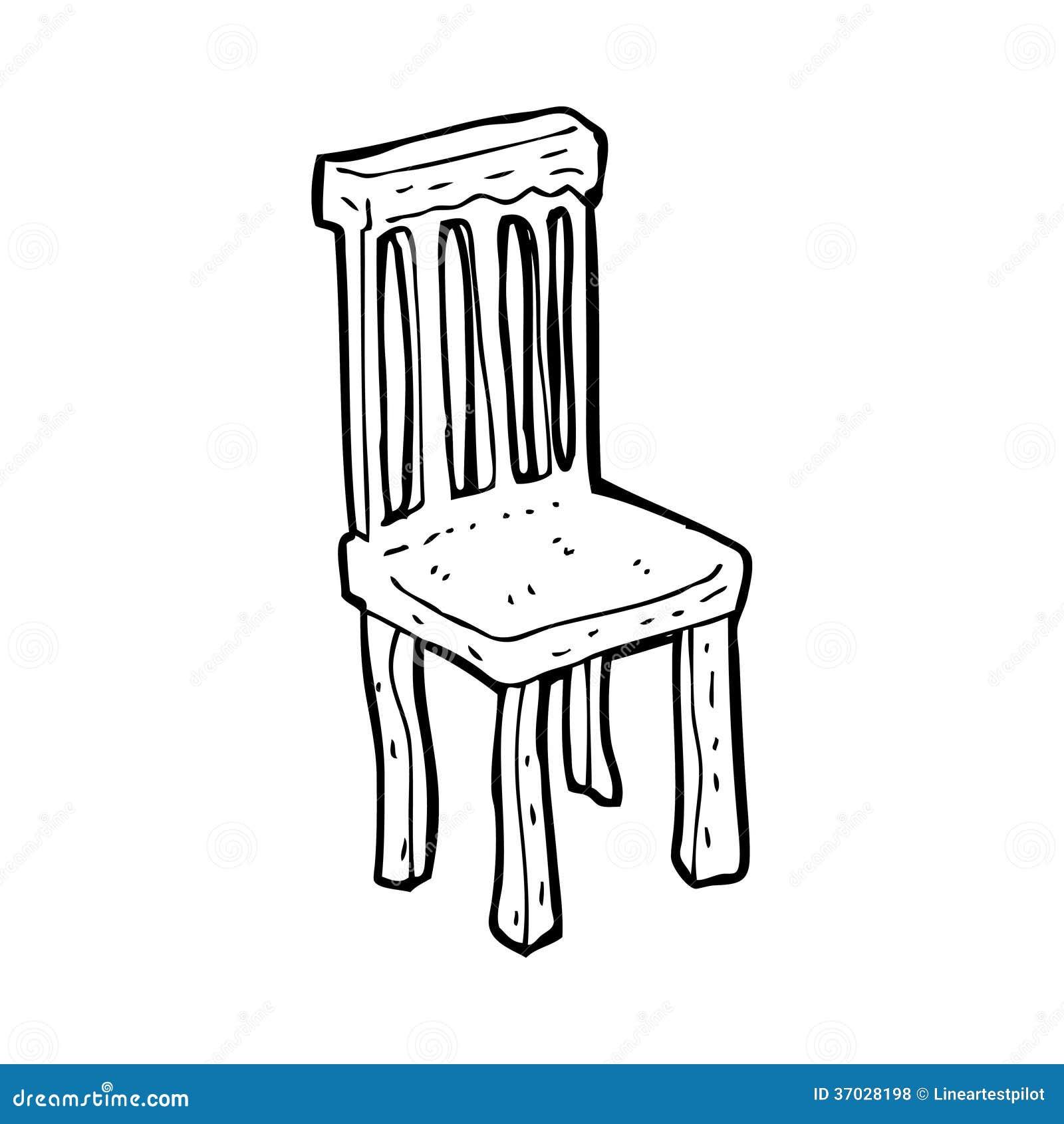 Vieille chaise en bois de bande dessin e photos libres de for Vieille chaise en bois