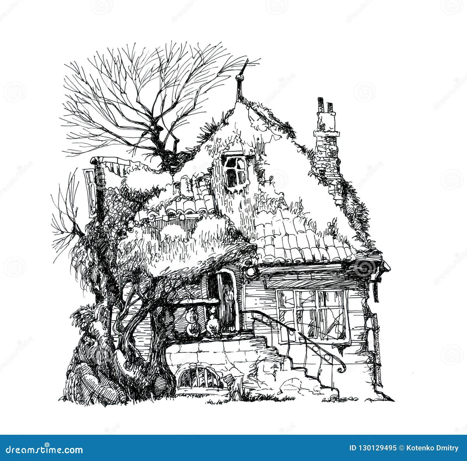 Maison En Ruine Dessin vieille chambre, ruine dessin d'encre illustration stock