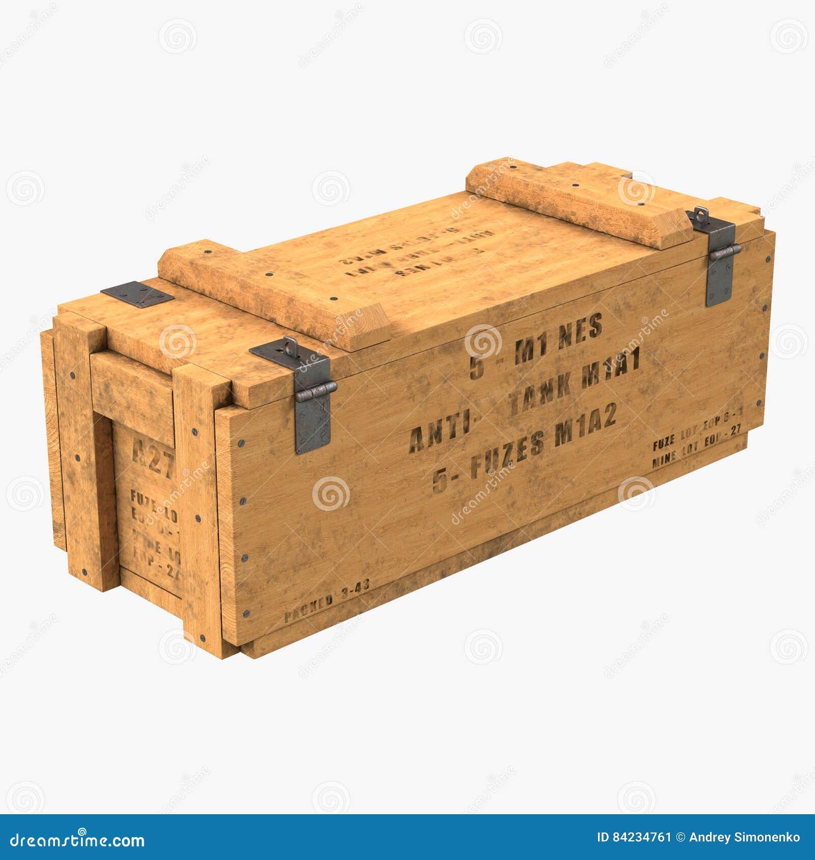 Vieille douille de munitions en bois sur le blanc illustration 3D