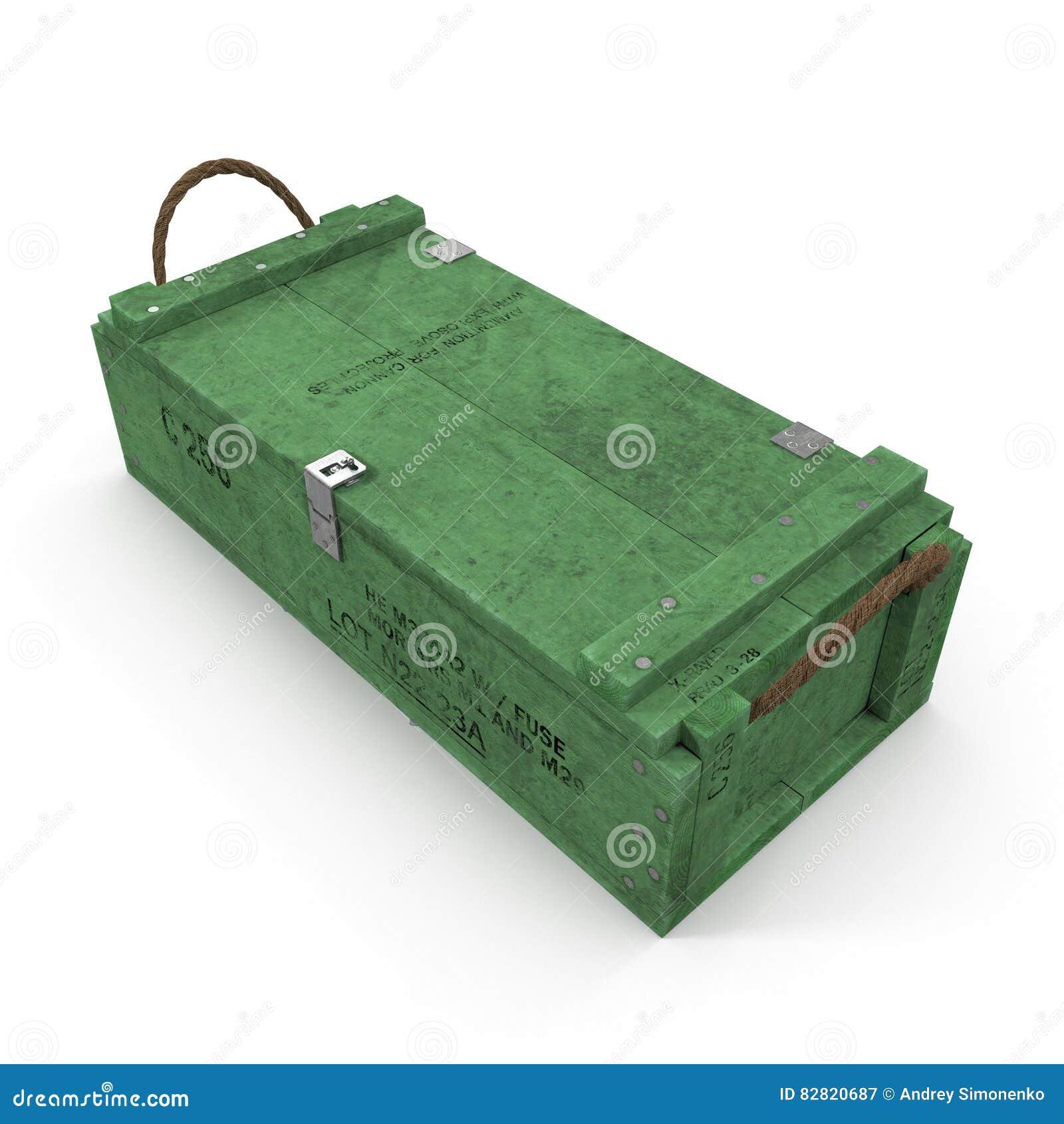 Vieille douille de munitions en bois verte sur le blanc illustration 3D
