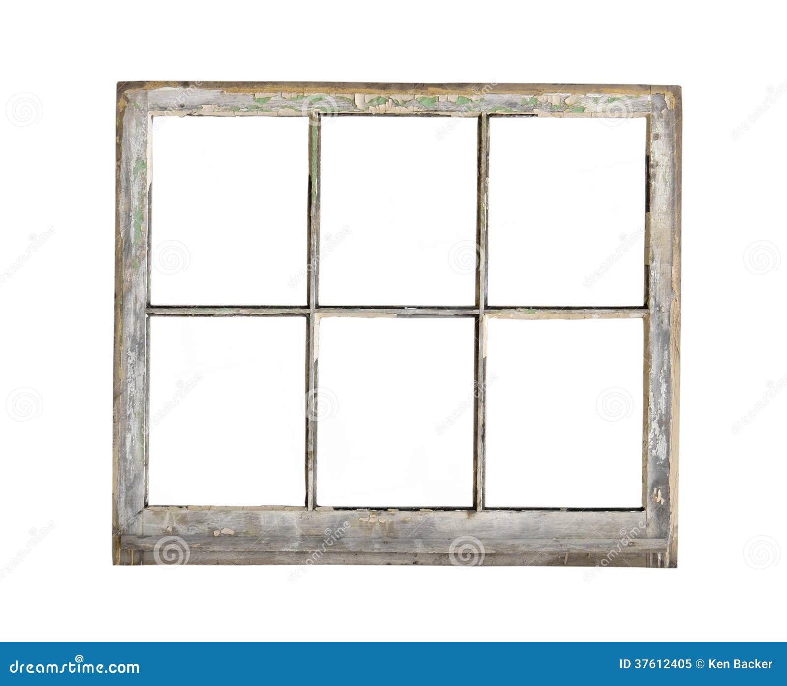 Vieille fen tre en bois de cadre d 39 isolement photo libre for Fenetre a carreau