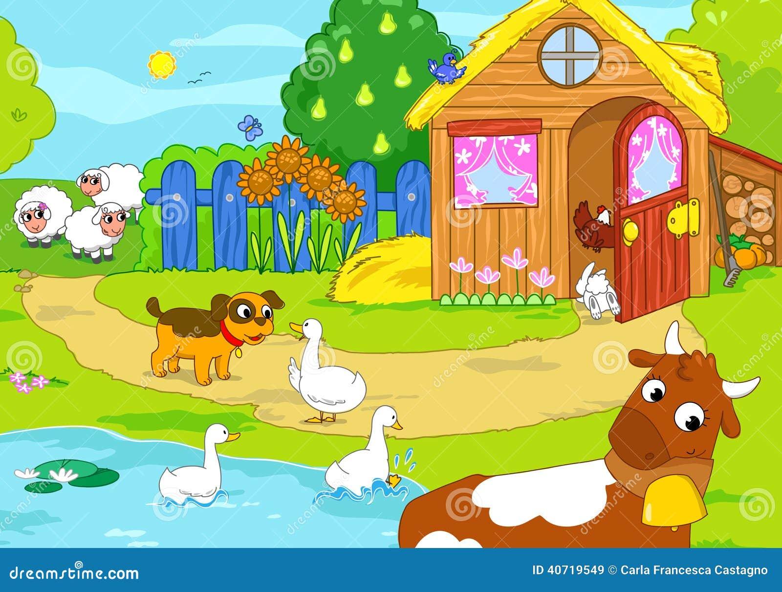 Vieille ferme avec les animaux dr les illustration de dessin anim illustration stock image - Dessin d une ferme ...
