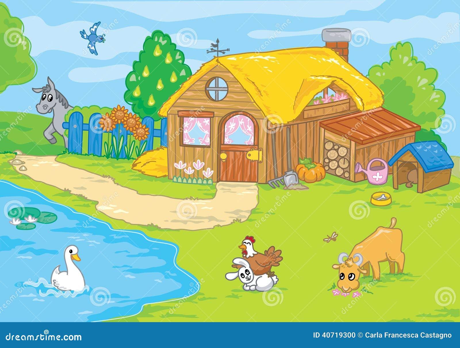 Vieille ferme mignonne illustration de dessin anim illustration stock illustration du animal - Dessin d une ferme ...