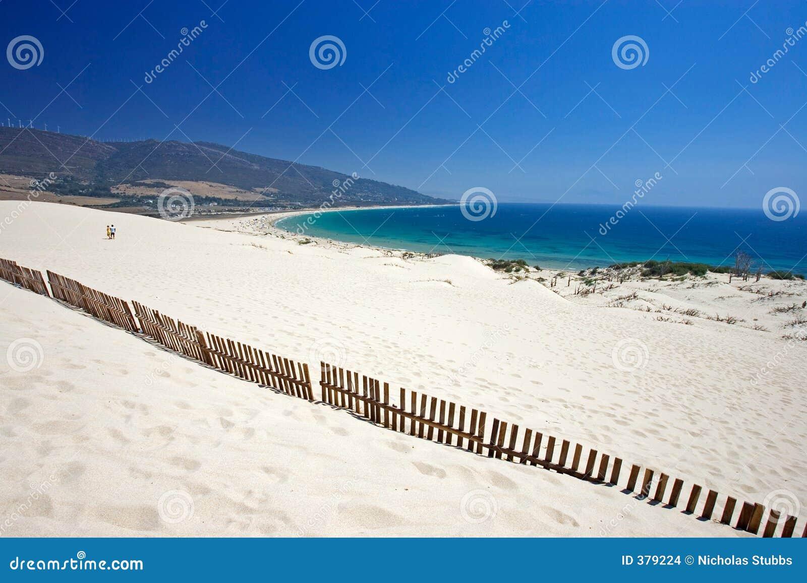 Vieille frontière de sécurité collant hors des dunes abandonnées de plage sablonneuse