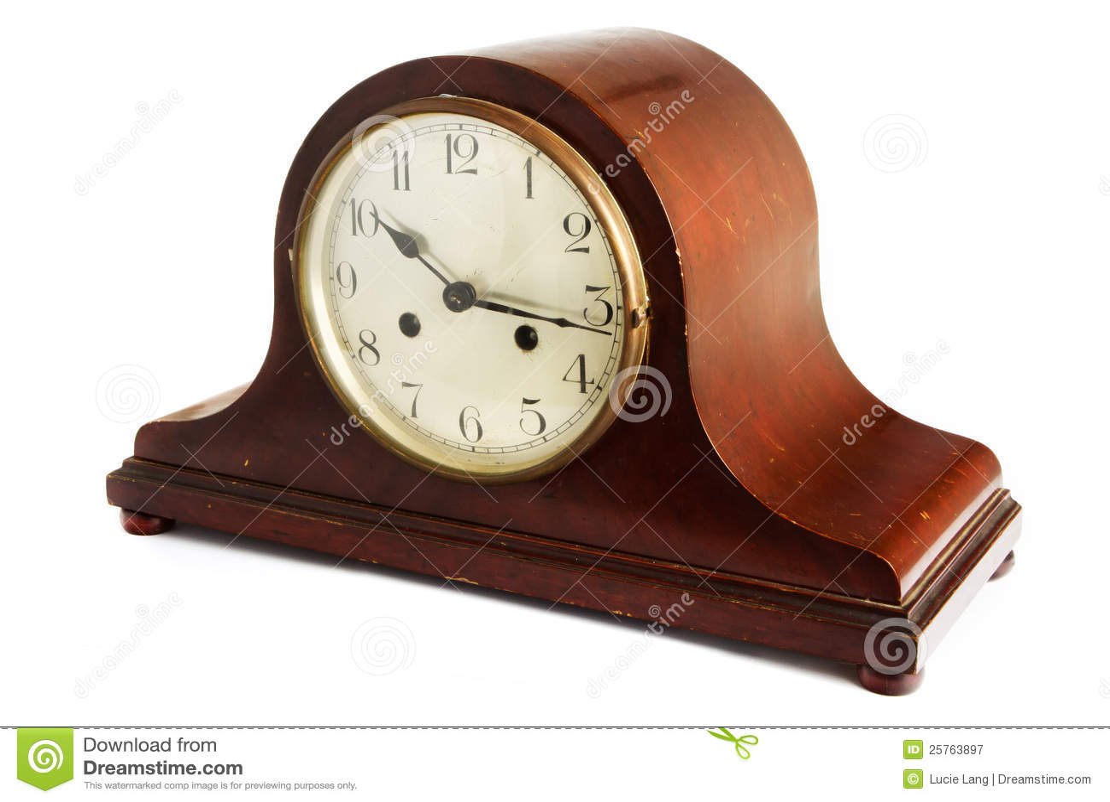 Vieille Horloge En Bois Antique Sur Le Blanc Photographie ...