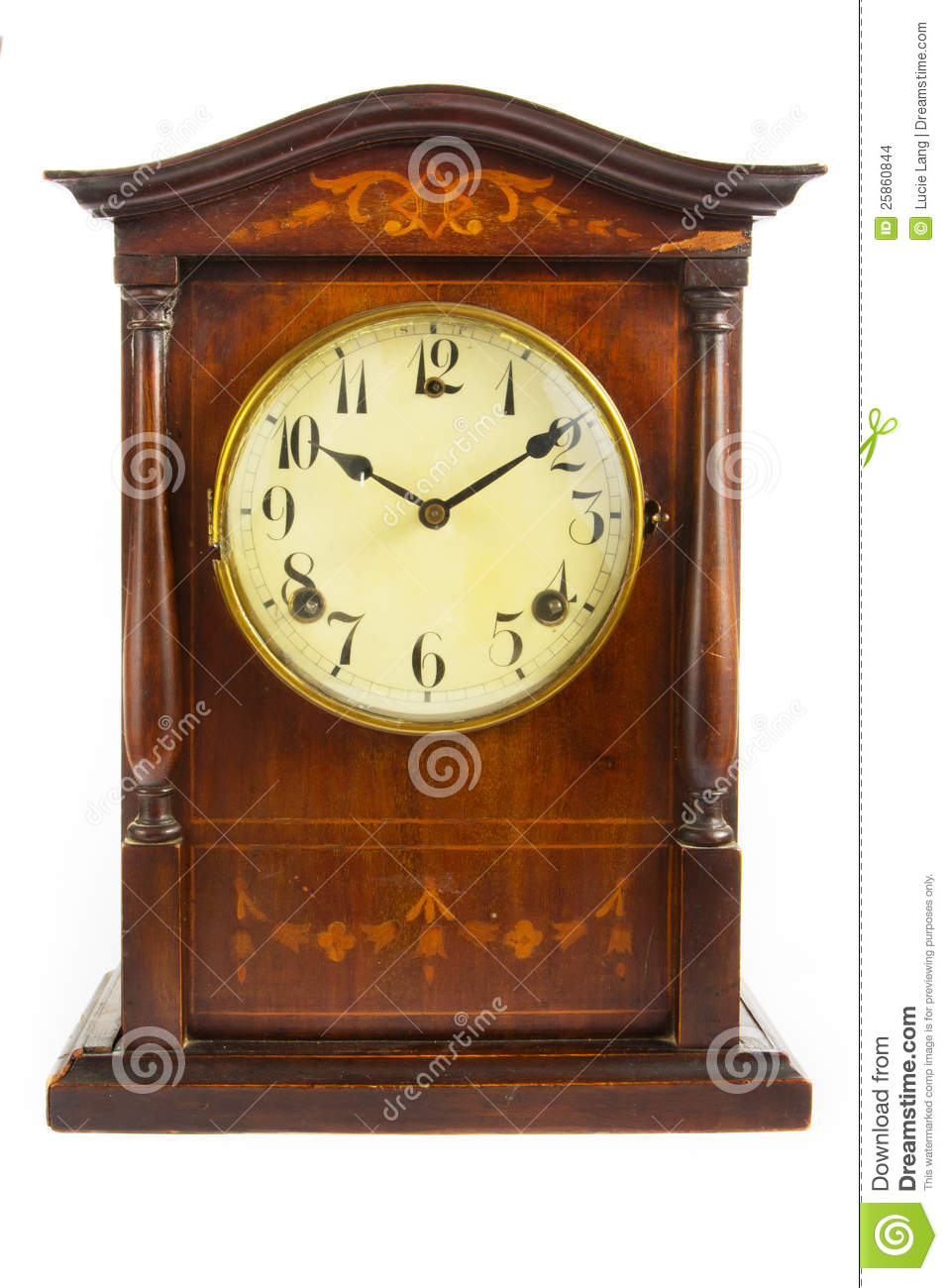 vieille horloge en bois antique sur le blanc photo stock image du fl che date 25860844. Black Bedroom Furniture Sets. Home Design Ideas