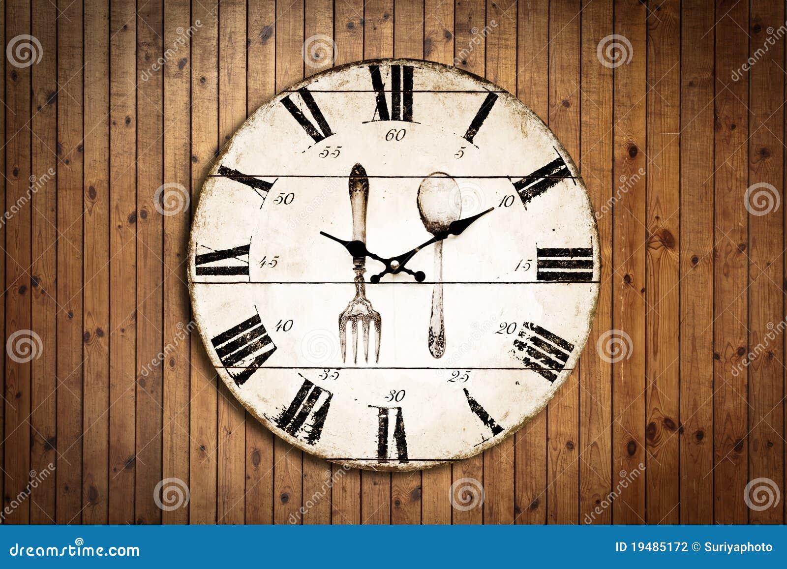 Vieille Horloge Sur La Texture En Bois De Grung  ~ Vieille Horloge En Bois