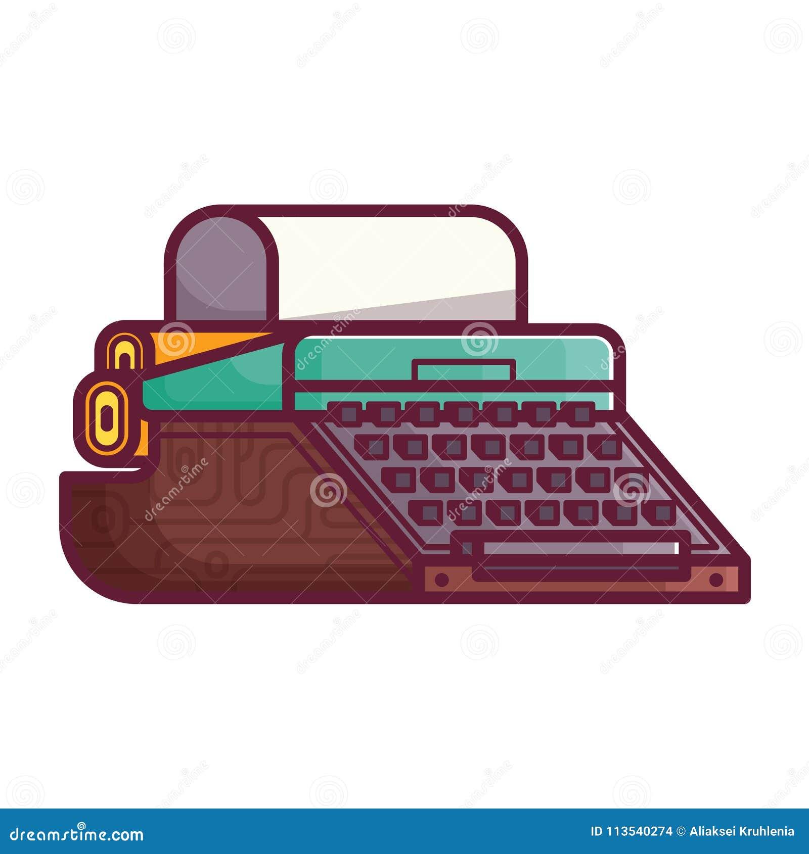 Vieille icône de machine de machine à écrire ou d écriture