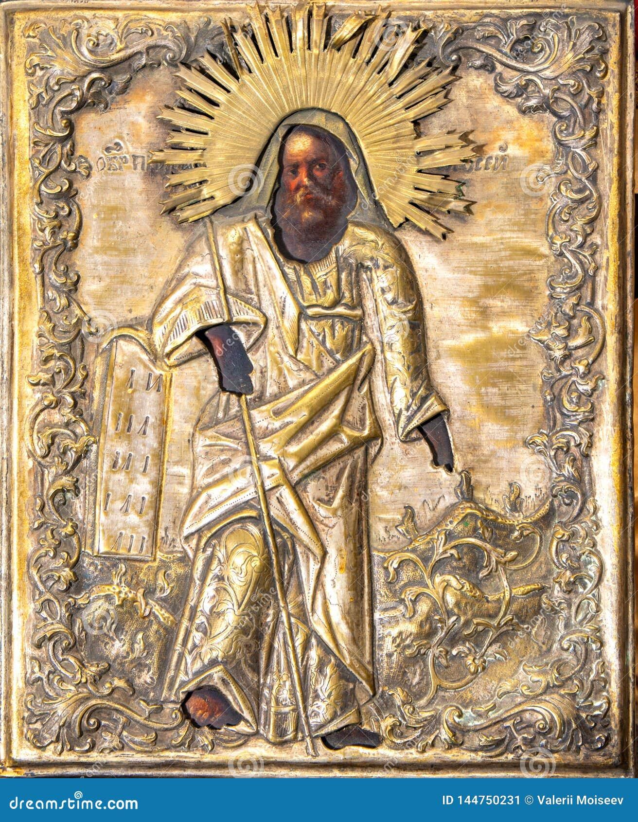 Vieille icône orthodoxe de la Russie, Riazan le 1er février 2019 - du 19ème siècle sur la toile en bois