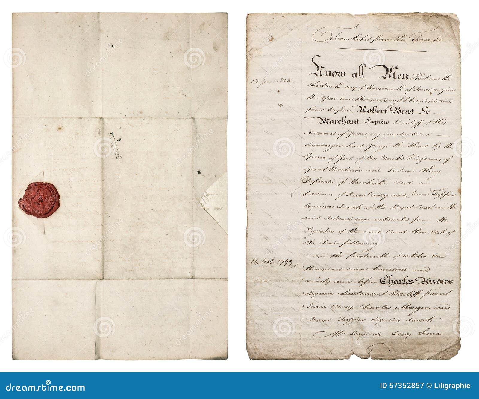 vieille lettre manuscrite feuille de papier antique avec le joint rouge de cire image stock. Black Bedroom Furniture Sets. Home Design Ideas